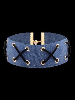 Denim Criss Cross Choker Necklace - Denim Blue