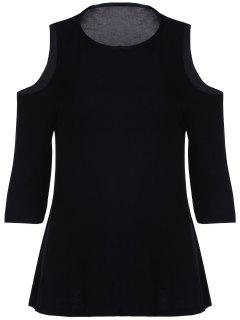Cold Shoulder De Cuello Redondo Manga 3/4 Color Sólido De La Camiseta - Negro S