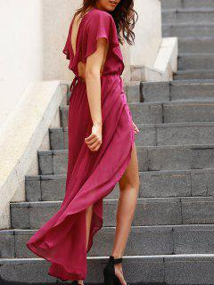 Backless Plunging Neck Flouncing High Slit Dress - Purple 2xl