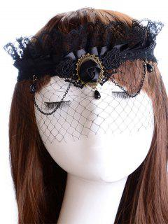 Rose Water Drop Forehead Chain Party Mask - Black