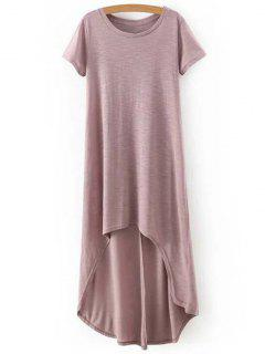 High-Low Round Neck Short Sleeve Dress - Complexion L