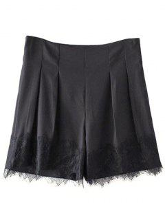 Black Lace Splice High Waist Shorts - Black S