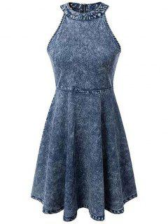 Snowflakes Round Neck Sleeveless Denim Dress - Blue L