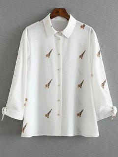 Tie-Up Giraffi Print White Shirt - White L