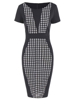 Houndstooth Work Fitted Pencil Dress With Sleeves - Black L