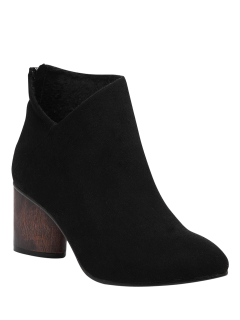 V-Shape Pointed Toe Zipper Ankle Boots - Black 37