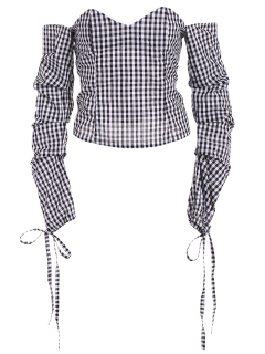 Off The Shoulder Checked Blouse - Black 2xl