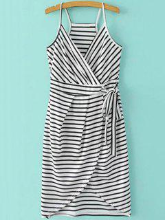 Striped Wrap Cami Tulip Dress - White And Black Xl