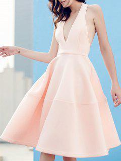 Open Back Plunging Neck Sleeveless Dress - Pink Xl
