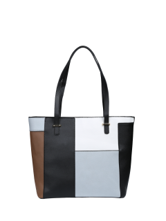 Faux Leather Color Block Shoulder Bag - Light Grey