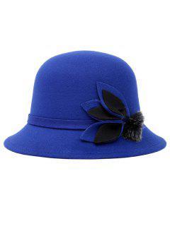 Fuzzy Ball Leaf Fedora Hat - Blue