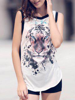 Animal Print Round Neck Sleeveless Tank Top - White L