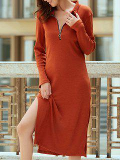 Solide Couleur Side Slit Plongeant Neck Robe à Manches Longues - Clairet M