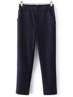 Elástica Cordón De La Cintura De Los Pantalones De Cintura Alta De Rayas - Azul Purpúreo L