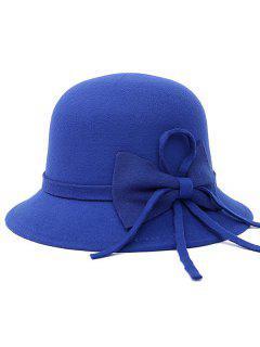 Long Band Bowknot Felt Fedora Hat - Blue