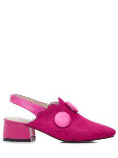 Button Solid Color Slingback Pumps - Rose 39