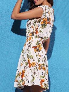 Floral Print Elastic Waist Chiffon Dress - Off-white L