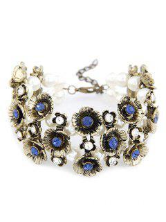 Retro Rhinestone Flower Bracelet - Blue