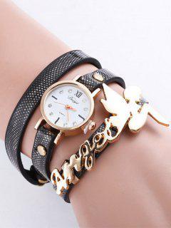 PU Leather Angel Fairy Rhinestone Bracelet Watch - Black