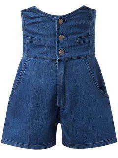 Solid Color High Waist Denim Shorts - Deep Blue Xl