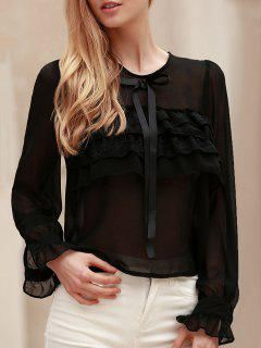 Bowknot Embellished See-Through Blouse - Black M