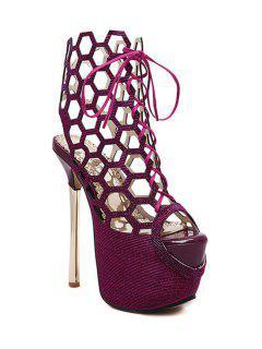 Peep Toe Hollow Out Sequined Sandals - Wine Red 40