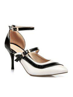 Color Block Buckle Pointed Toe Pumps - White 39