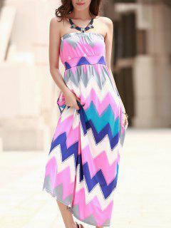 Zig Zag Strapless Print Maxi Dress - Pink S