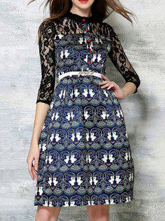 Lace Spliced Printed Round Neck 3/4 Sleeve Dress - Black L