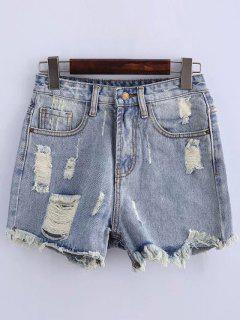 High Waisted Ripped Denim Shorts - Light Blue 2xl