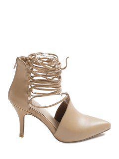 Stiletto Heel Lace-Up Pointed Toe Pumps - Light Khaki 34