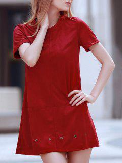 Robe Rouge Vin Design à Détail Anneaux - Rouge Vineux  2xl