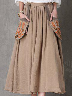 Ethnic Embroidery A Line Skirt - Camel L