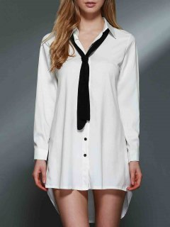Bowknot Embellished Tunic Shirt Dress - White S