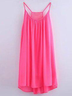 Chiffon Mesh Design Flippy Dress - Pink S