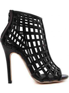 Hollow Out Stiletto Heel Peep Toe Shoes - Black 40