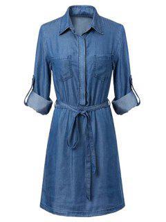 Bolsillos Cuello De La Camisa De Manga Larga Vestido De Cambray - Azul Xl
