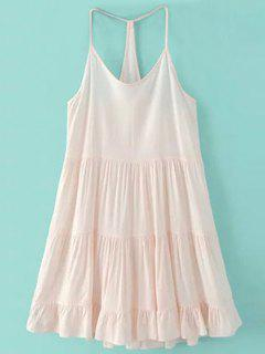 Spaghetti Strap Tiered Dress - Pink Xl