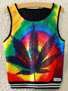 Maple Leaf Print Crop Tank Top - Black