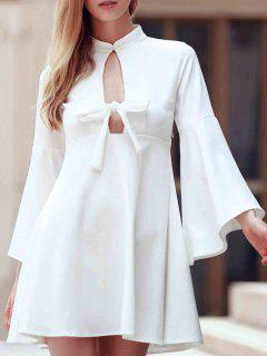 Flare Sleeve Cutout Swing Dress - White 2xl