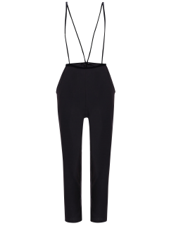 Black High Waisted Pencil Pants - Black S