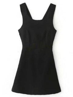 Back Cross Self Tie Sleeveless Dress - Black S