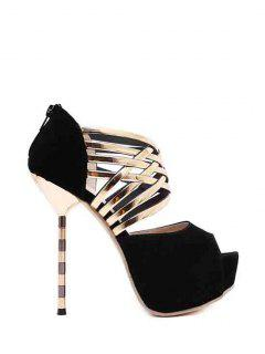 Platform Flock Stiletto Heel Peep Toe Shoes - Black 39