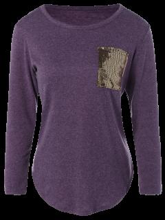 Camiseta De Bolsillo De Bolsillo Con Lentejuelas - Púrpura M
