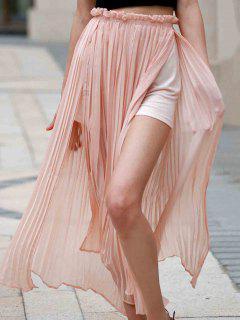 Pleated Chiffon Long Skirt - Pink M