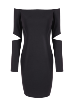 Off The Shoulder Long Sleeve Bodycon Dress - Black S