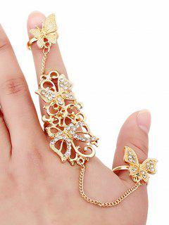 Rhinestone Butterfly Rings - Golden
