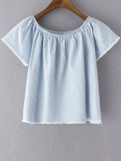 Off The Shoulder Solid Color T-shirt à Manches Courtes - Bleu Clair L