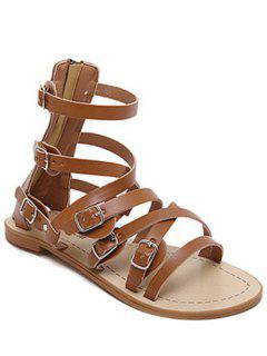 Cross-Strap Buckles Flat Heel Sandals - Brown 39