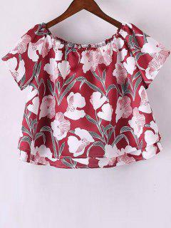 Floral Off The Shoulder Crop Top - Red S